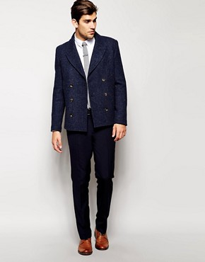 Image 4 ofASOS Slim Fit Smart Trousers in Navy