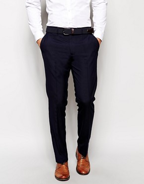 Image 1 ofASOS Slim Fit Smart Trousers in Navy