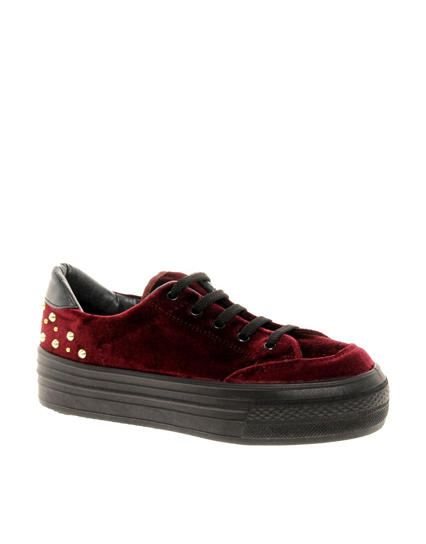 Image 1 of ASOS DEAL Studded Flatform Trainers