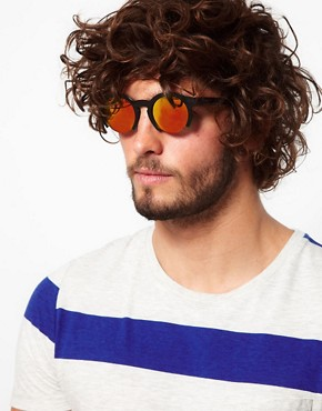 Image 3 of ASOS Orange Lens Cut Off Sunglasses