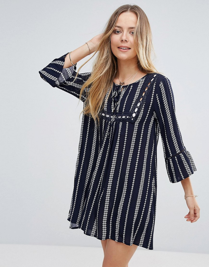 Lunik Stripe Smock Dress - Navy
