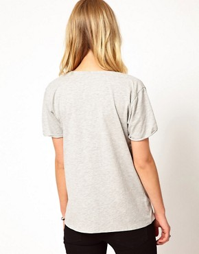 Image 2 ofSelected Daisy T-Shirt with Raw Edge and Pocket Detail