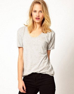 Image 1 ofSelected Daisy T-Shirt with Raw Edge and Pocket Detail