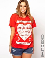 ASOS CURVE T-Shirt With Stolen Heart Print