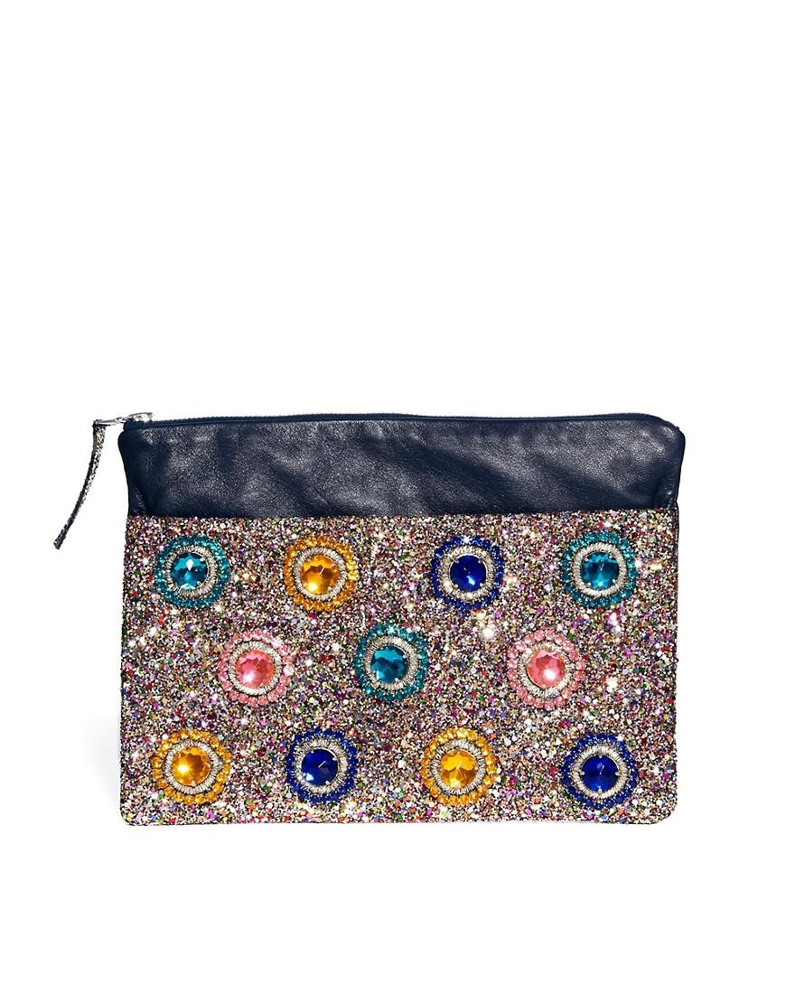 House of Holland Clutch Bag in Multi Glitter - Multi