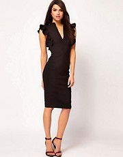 Hybrid Dress with Deep V Neck and Lace Frill Sleeves