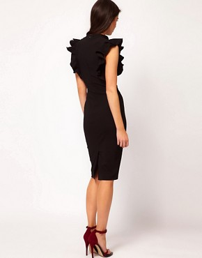Image 2 ofHybrid Dress with Deep V Neck and Lace Frill Sleeves