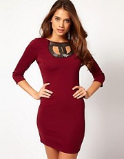 Paprika Beaded Neckline Bodycon Dress