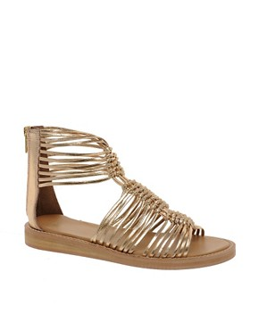 Image 1 ofASOS FIRE Leather Gladiator Flat Sandals