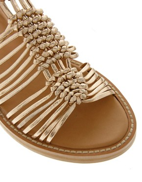 Image 2 ofASOS FIRE Leather Gladiator Flat Sandals
