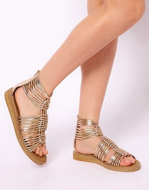 Image 3 ofASOS FIRE Leather Gladiator Flat Sandals