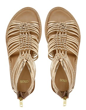 Image 4 ofASOS FIRE Leather Gladiator Flat Sandals