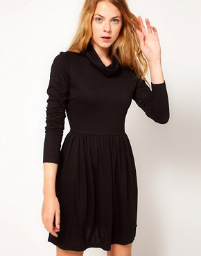 Image 1 ofVila Jersey Cowl Neck Skater Dress