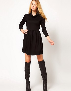 Image 4 ofVila Jersey Cowl Neck Skater Dress