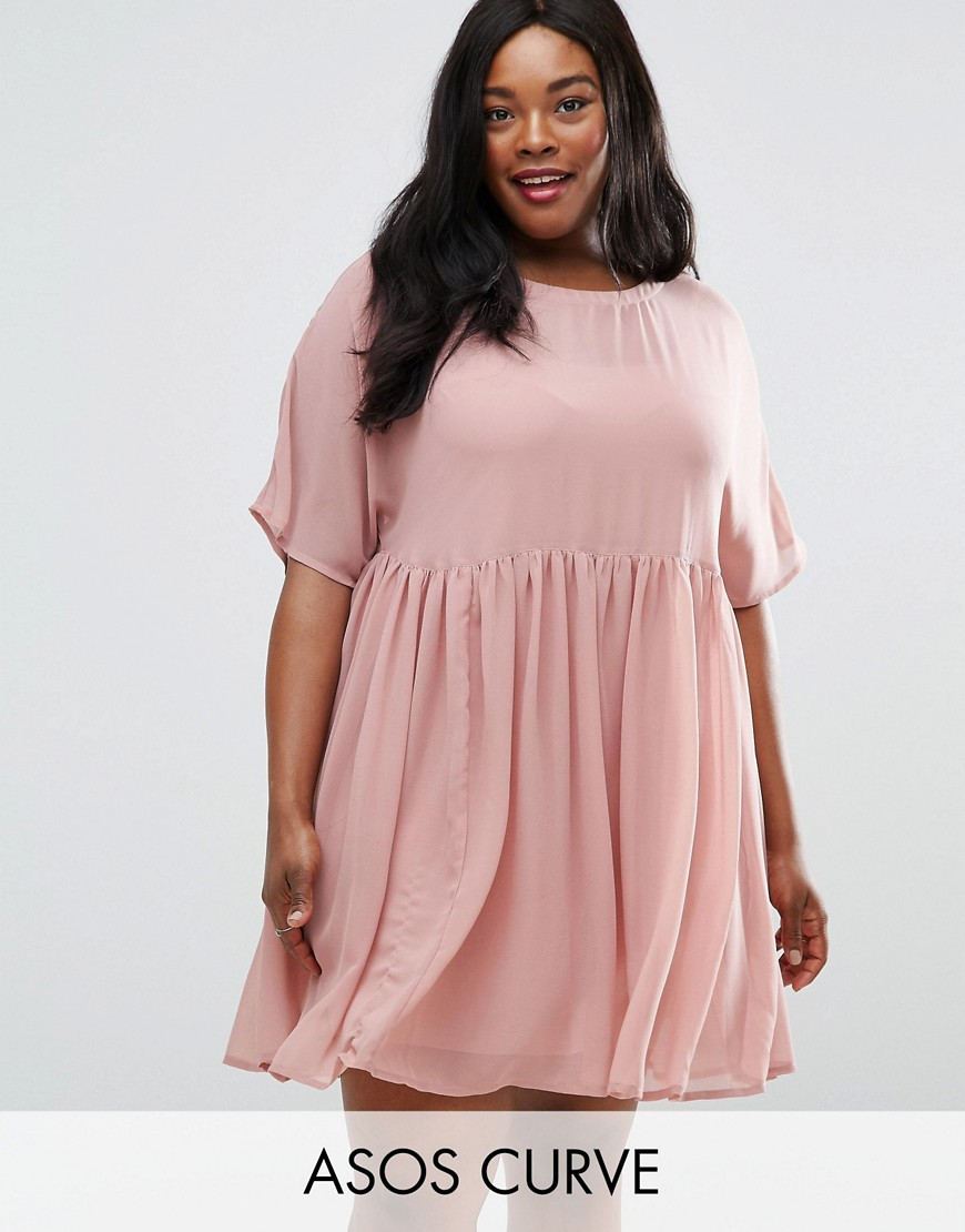 ASOS CURVE Smock Dress - Pink
