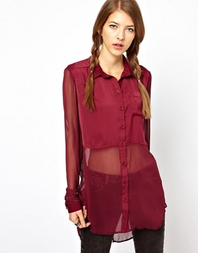 Image 1 ofFree People Sheer Panels Shirt