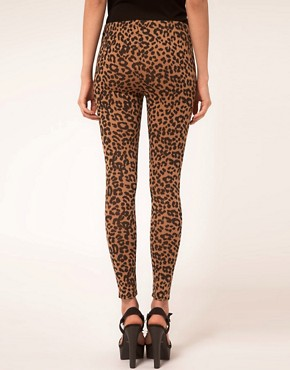 Image 2 ofASOS Leopard Print Leggings In Ponte