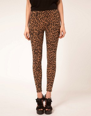 Image 4 of ASOS Leopard Print Leggings In Ponte