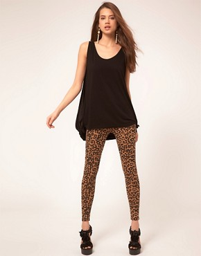 Image 1 of ASOS Leopard Print Leggings In Ponte