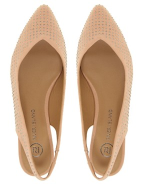 Image 2 ofRiver Island Jewelled Pointed Ballet Flats