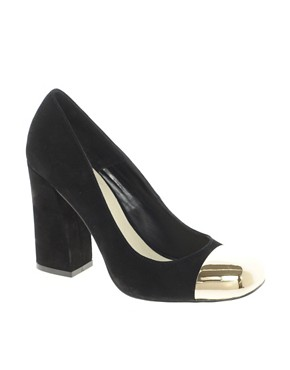 Image 1 ofASOS PLATO Suede High Heels with Metal Toe Cap