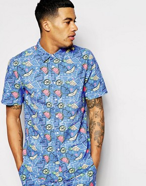 ASOS Shirt in Short Sleeve With Fruit Print Co-Ord