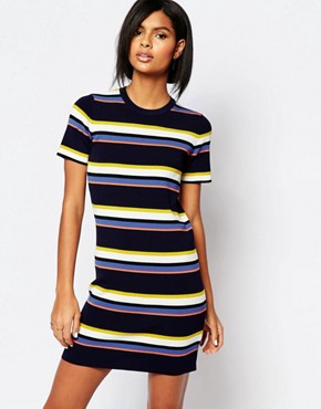 Whistles Stripe Knit T-Shirt Dress