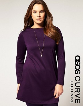 Image 1 ofASOS CURVE Exclusive Workwear Tunic in Jersey