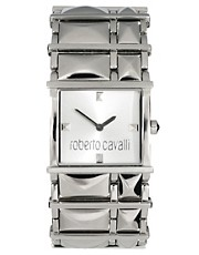 Roberto Cavalli Silver Dial Rock Bracelet Watch