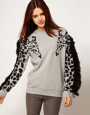 Image 1 ofASOS Sweatshirt with Giraffe and Fringe Sleeves