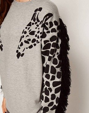 Image 3 ofASOS Sweatshirt with Giraffe and Fringe Sleeves