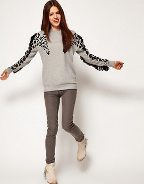 Image 4 ofASOS Sweatshirt with Giraffe and Fringe Sleeves