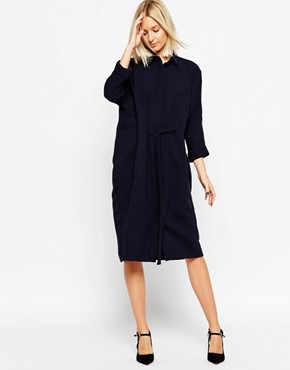 ASOS WHITE Midi Shirt Dress with Tie Detail