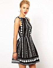 Closet Fit and Flare Dress in Monochrome Border Print