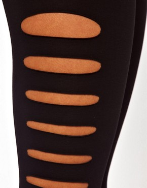 Image 3 of ASOS Leggings with Slash Detail