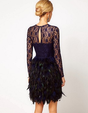 Image 2 ofASOS Feather Dress With Lace Top