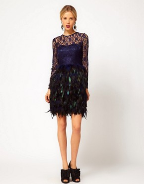 Image 4 ofASOS Feather Dress With Lace Top