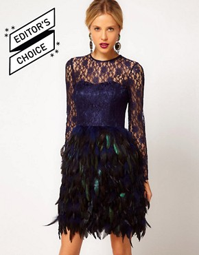 Image 1 ofASOS Feather Dress With Lace Top