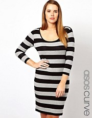 ASOS CURVE Midi Body-Conscious Dress In Wide Stripe