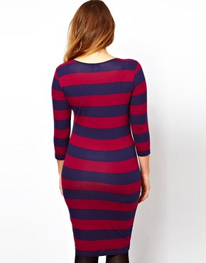 Image 2 ofASOS CURVE Midi Bodycon Dress In Wide Stripe