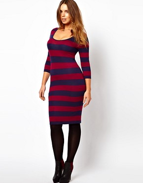 Image 4 ofASOS CURVE Midi Bodycon Dress In Wide Stripe