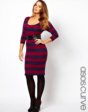Image 1 ofASOS CURVE Midi Bodycon Dress In Wide Stripe