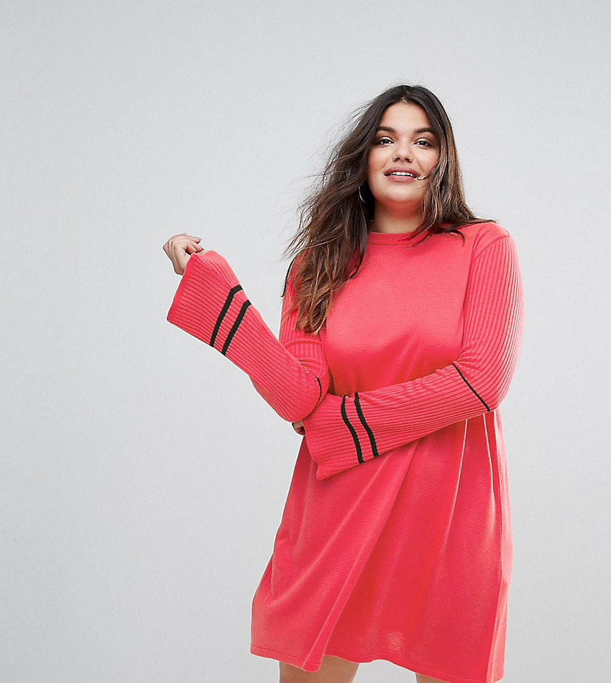 ASOS CURVE Knitted Dress with Fluted Sleeves and Sports Tipping