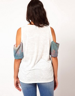 Image 2 of ASOS CURVE Sunset Triangle Print Top With Cold Shoulder