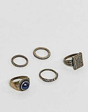 ASOS Chunky Ring Pack In Burnished Gold With Embossing And Stone Interest