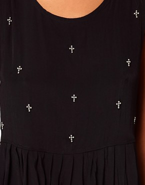 Image 3 ofMotel Laynie Hi Lo Dress with Cross Embellishment
