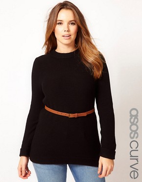 Image 1 ofASOS CURVE Belted Jumper In Textured Stitch