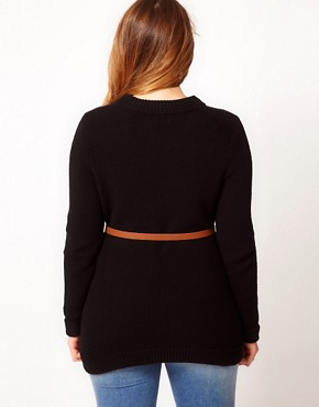 Image 2 ofASOS CURVE Belted Jumper In Textured Stitch