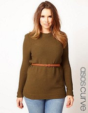 ASOS CURVE Belted Sweater In Textured Stitch