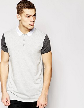 ASOS Longline Polo Shirt With Colour Block & Stepped Hem
